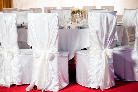 round chairs: White beautiful table set for a wedding dinner