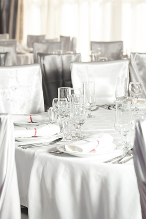 fine silver: White beautiful table set for a wedding dinner