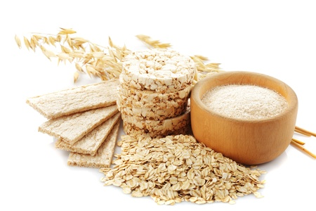 dietary fiber: Different oat products isolated on white background
