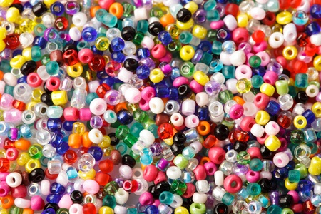 abstract background of close up multi colored beads