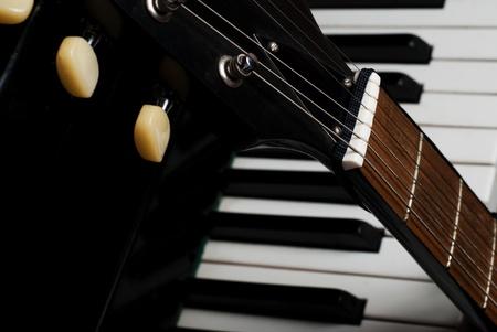 Guitar and piano closeup parts photo