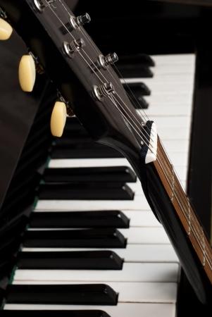 antique sleigh: Guitar and piano closeup parts
