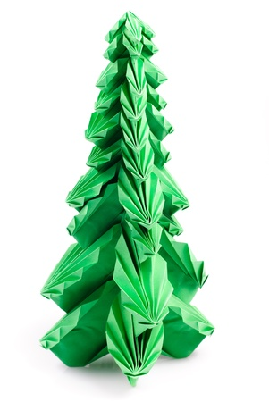 Green origami fir tree or Christmas tree isolated on white photo