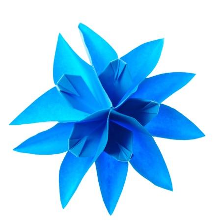 blue origami unit snowflake isolated on white background photo