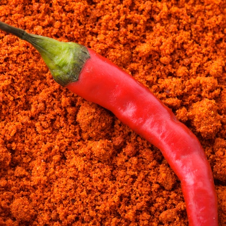 milled: Red hot chilli pepper on milled paprika
