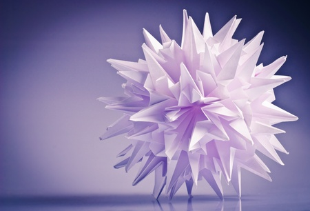White origami unit kusudama virus or snowflake  photo