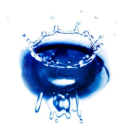Blue water drop closeup, abstract background photo