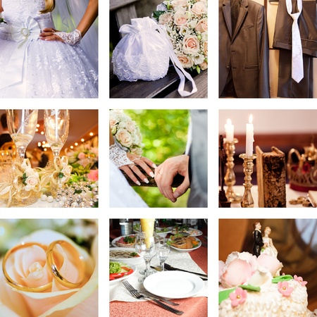 Collage with bridegroom and bride in different situations  photo