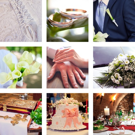 wedding bands: Collage with bridegroom and bride in different situations