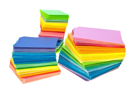 various color paper stack like a rainbow isolated on white Stock Photo - 12030925