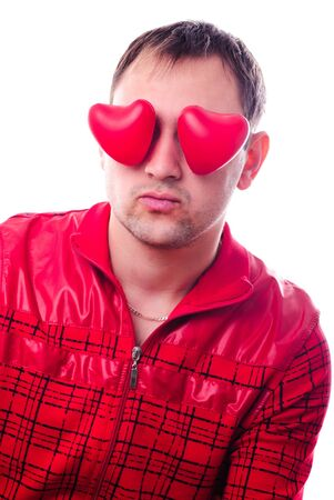 """Man with red heart-shapes instead of eyes isolated on white. Concept """"love is blind"""""""