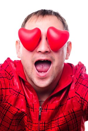playboy: Man with red heart-shapes instead of eyes isolated on white. Concept love is blind