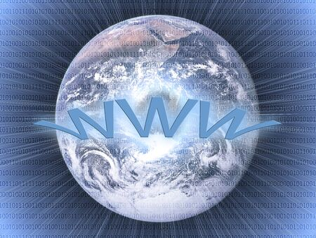 Wide world web concept: planet earth with integrated bits and bytes  photo