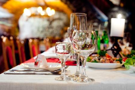 gourmet dinner: Restourants table prepared for celebrating event Stock Photo