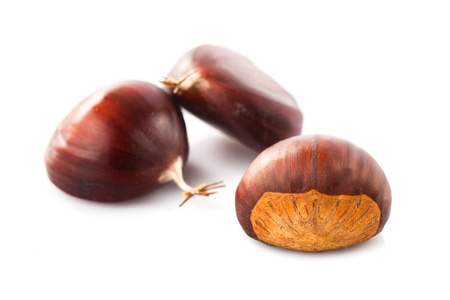 chestnuts heap isolated on white background photo