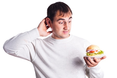 gagging: Hungry man very need a hamburger isolated on white background Stock Photo