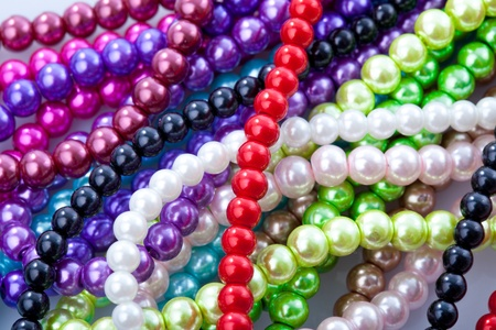 Beads necklace close up background photo