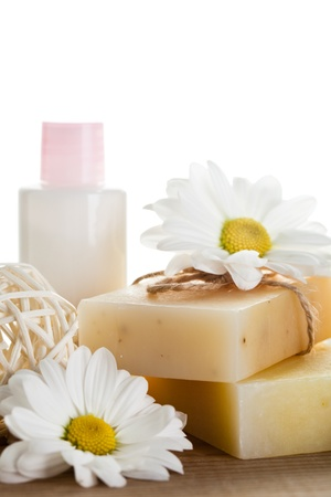 Natural cosmetics concept: soap and hand cream for hands photo
