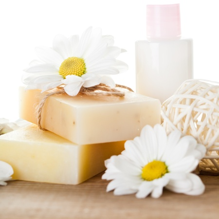 creams: Natural cosmetics concept: soap and hand cream for hands Stock Photo