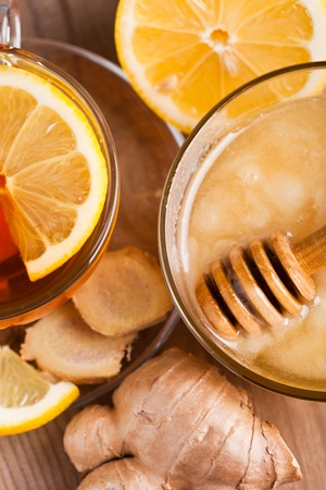 Tea with honey, lemon, and ginger. Healthcare concept for cold Stock Photo - 12891343