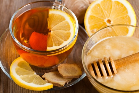 Tea with honey, lemon, and ginger. Healthcare concept for cold Stock Photo - 12891341