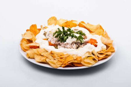 Salad with chiken, vegetables and potato chips Stock Photo - 12891291