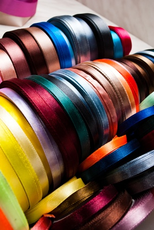favours: many-coloured ribbon spools in the craft