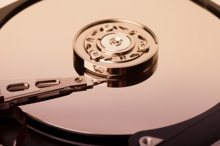 computer memory: Hard disk drive inside. Data safety concept. Stock Photo
