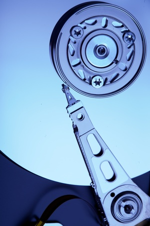 Hard disk drive inside. Data safety concept. photo