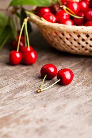 Sweet cherries in basket outdoor photo