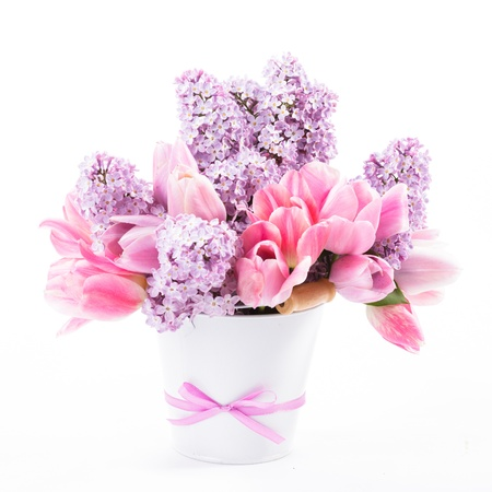 birthday flowers: Bouquet from pink tulips and lilac on white