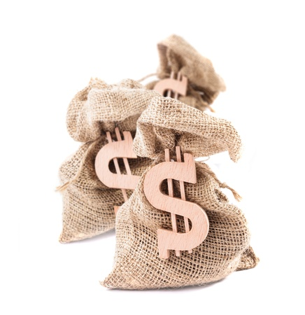 Three money bags with the dollar symbol photo