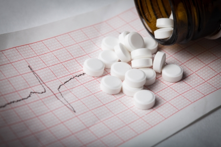 Cardiogram and nitroglycerin, the concept for strokes and  heart attacks Stock Photo