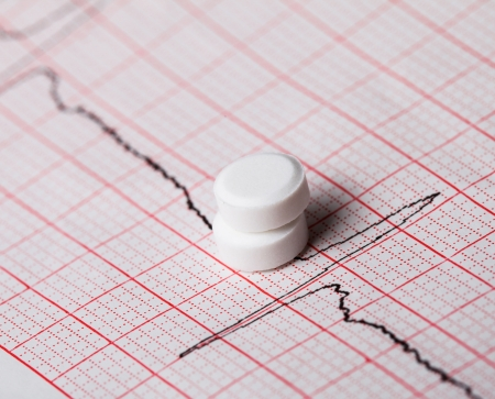 Cardiogram and nitroglycerin, the concept for strokes and  heart attacks photo