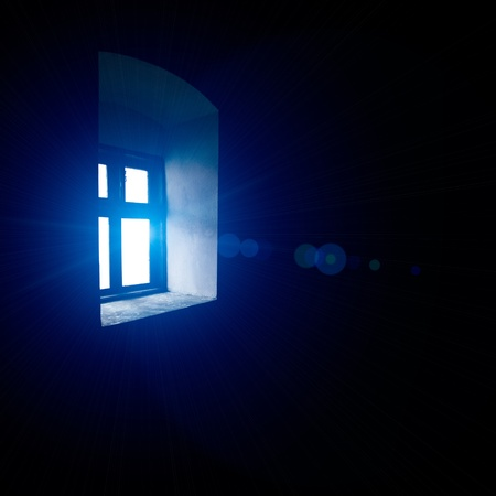 castle wall: Vintage window with blue light, indoors view Stock Photo