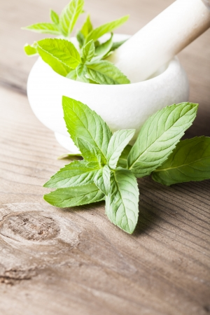Fresh green mint in mortar on wood background closeup photo
