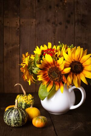 Still life with pumpkins and sunflowers photo