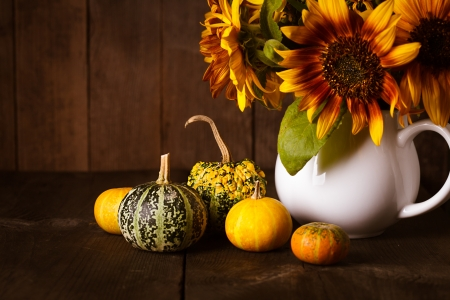 Still life with decorative pumpkins on wood background photo