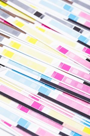 matter: Uiteinden van drukwerk na het snijden, grafische industrie Stockfoto