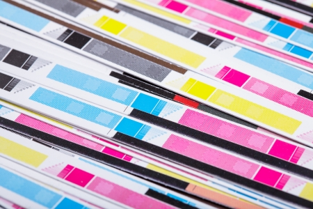 the matter: CMYK color on printed sheets of paper after cutting