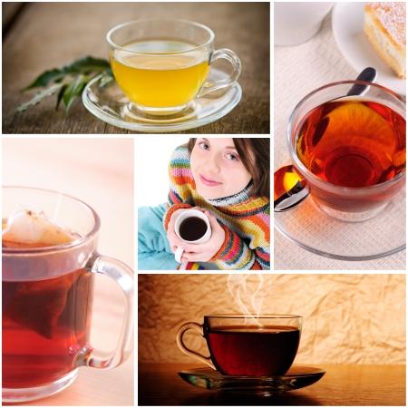 Tea in cups closeup, aroma concept