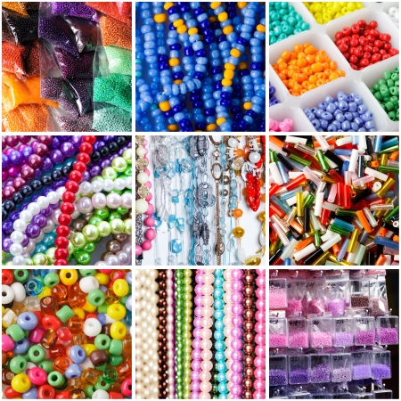 beading: Collage of a variety of beads for necklaces