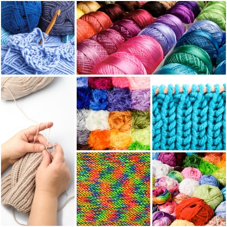 weave ball: Knitting and crocheting threads in the collage