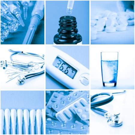 otorhinolaryngology: Medicina concetto - strumenti e farmaci in tonalit� blu