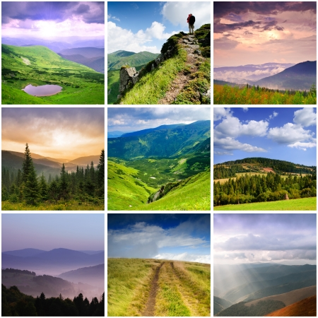 Carpathian Mountains, collage from nine photos
