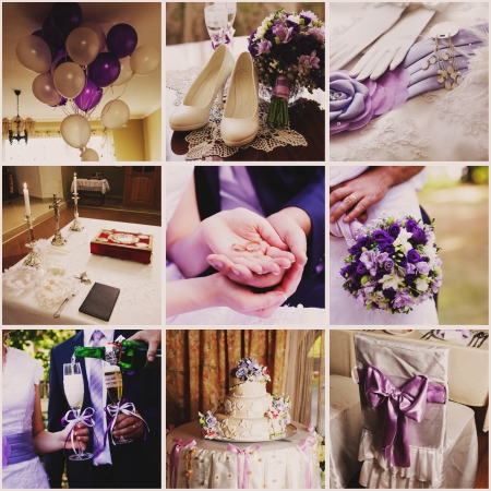 ring wedding: Collage from nine wedding  photos in violet style