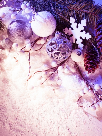 White and silver christmas decor with blue light Stock Photo