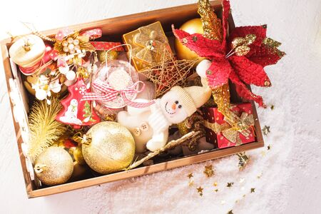Wood box with christmas decoration, preparation for holidays Stock Photo - 16506723