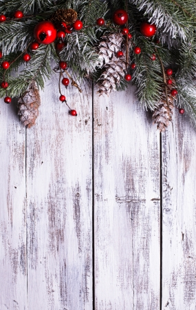 Christmas border design with snow covered pinecones Stock Photo