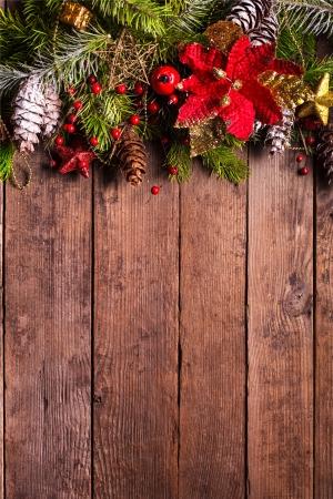Navidad diseño de la frontera en el fondo de madera Foto de archivo